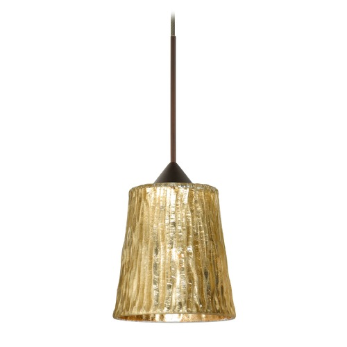 Besa Lighting Besa Lighting Nico Bronze Mini-Pendant Light with Fluted Shade 1XT-5125GF-BR
