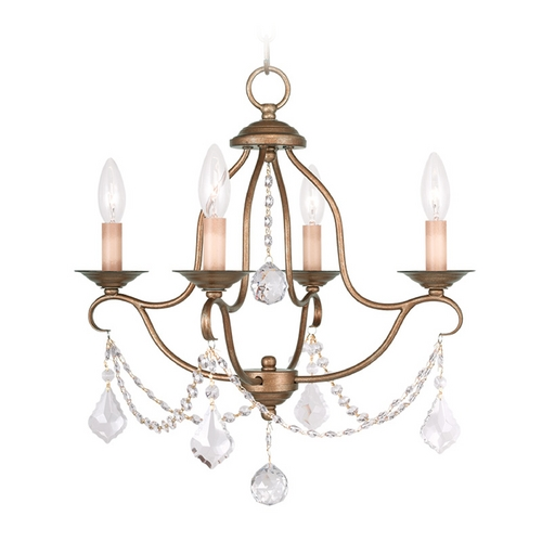 Livex Lighting Livex Lighting Chesterfield Antique Gold Leaf Crystal Chandelier 6424-48