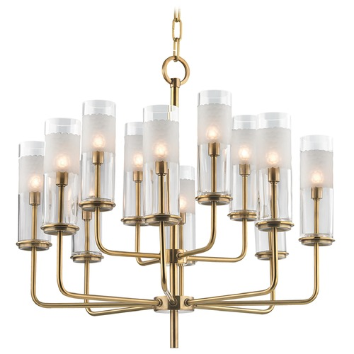 Hudson Valley Lighting Wentworth 12 Light 2-Tier Chandelier - Aged Brass 3925-AGB