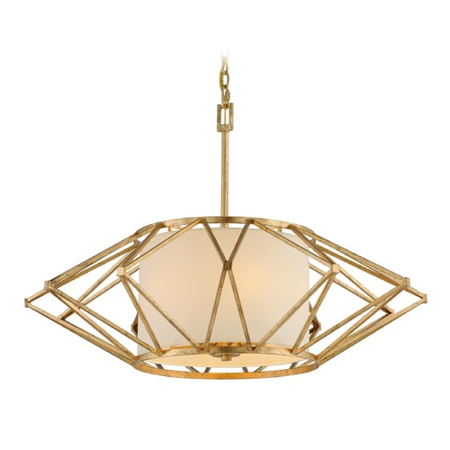 Troy Lighting Troy Lighting Calliope Rustic Gold Leaf Pendant Light with Drum Shade F4865