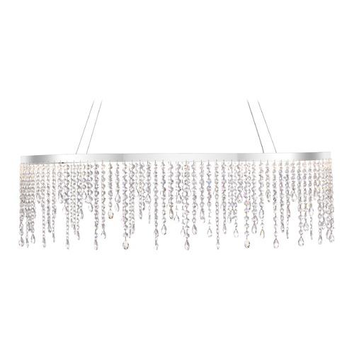modern crystal led pendant light polished chrome platinum