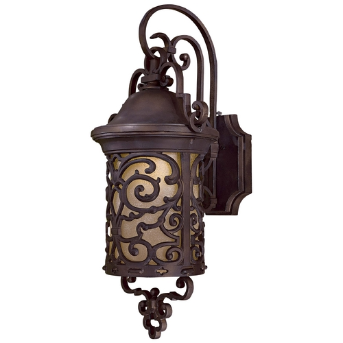 Minka Lavery Outdoor Wall Light with Beige / Cream Glass in Chelesa Bronze Finish 9193-189-PL