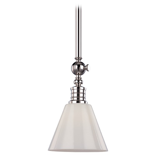 Hudson Valley Lighting Modern Pendant Light with White Glass in Polished Nickel Finish 9611-PN