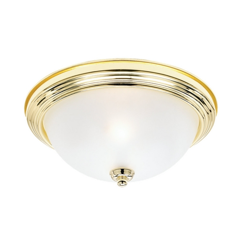 Sea Gull Lighting Flushmount Light with White Glass in Polished Brass Finish 77064-02