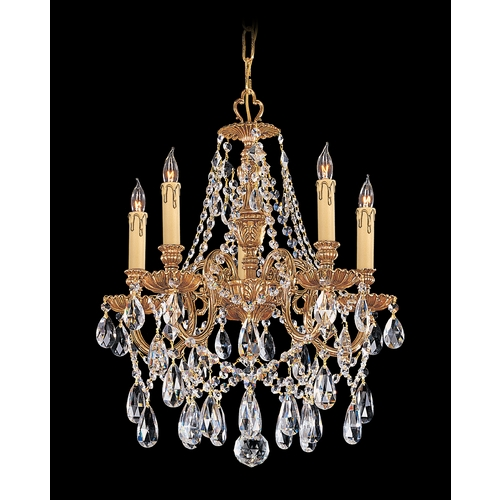 Crystorama Lighting Crystal Mini-Chandelier in Olde Brass Finish 2705-OB-CL-MWP
