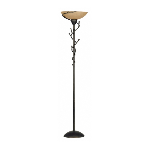 Kenroy Home Lighting Torchiere Lamp with Amber Glass in Bronze Finish 30902-1BRZ