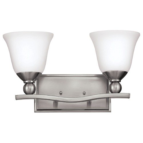Hinkley Lighting Bathroom Light with White Glass in Brushed Nickel Finish 5892BN