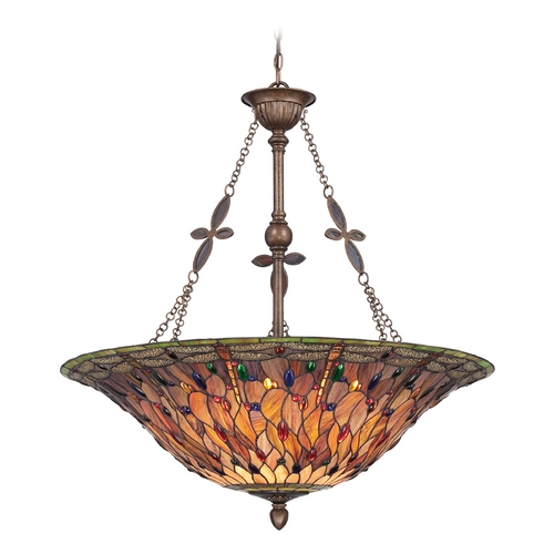 Quoizel Lighting Pendant Light with Multi-Color Glass in Malaga Finish TFJD2836ML