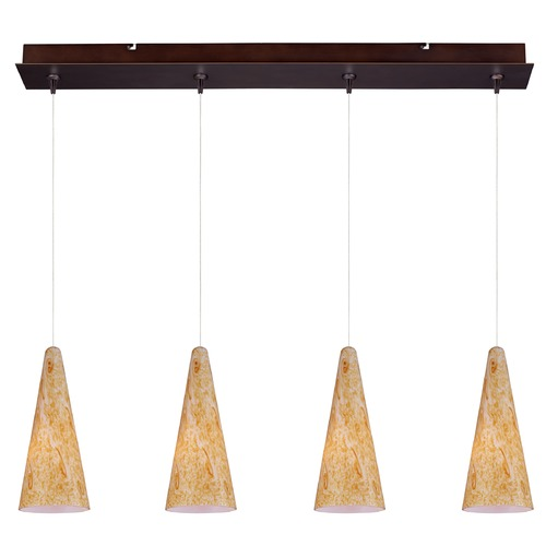 ET2 Lighting Minx Bronze Multi-Light Pendant with Conical Shade E94930-103BZ
