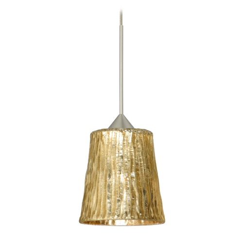 Besa Lighting Besa Lighting Nico Satin Nickel Mini-Pendant Light with Fluted Shade 1XT-5125GF-SN