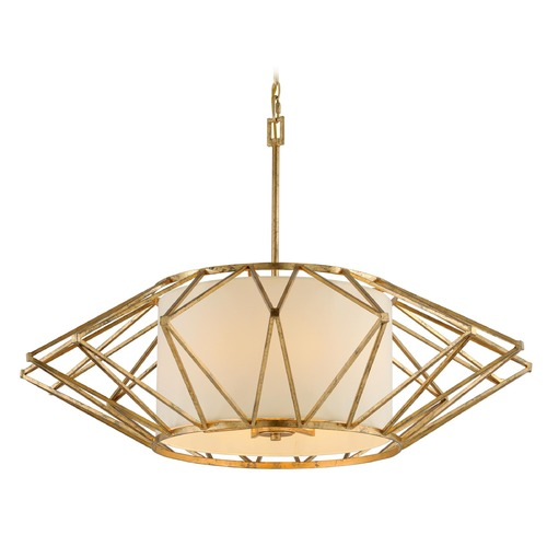 Troy Lighting Troy Lighting Calliope Rustic Gold Leaf Pendant Light with Drum Shade F4866