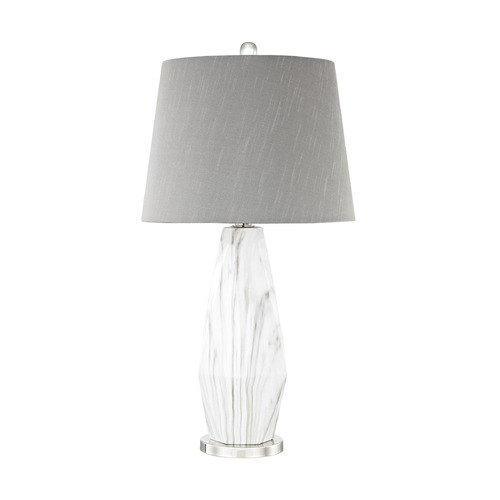 Dimond Lighting Dimond Sochi Polished Nickel and White Faux Marble Table Lamp with Empire Shade D3090