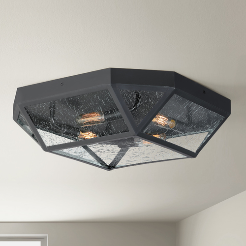Quoizel Lighting Quoizel Montrose Mystic Black 4-Light Flushmount Light with Clear Seeded Octagon Shade QF4059K