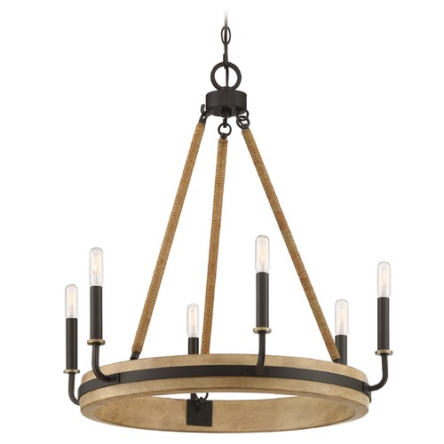 Quoizel Lighting Quoizel Lighting Kearney Western Bronze with Painted Antique Washed Wood Chandelier KEA5025WT