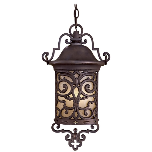 Minka Lavery Outdoor Hanging Light with Beige / Cream Glass in Chelesa Bronze Finish 9194-189-PL