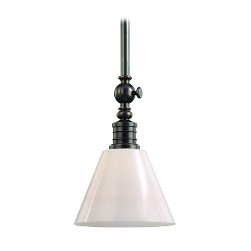 Hudson Valley Lighting Modern Pendant Light with White Glass in Distressed Bronze Finish 9615-DB