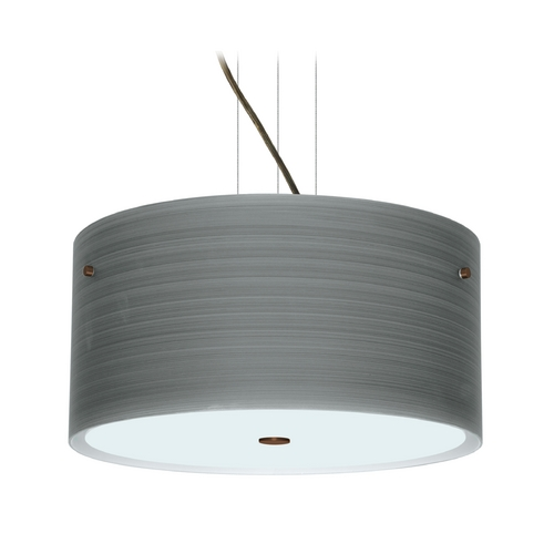 Besa Lighting Modern Pendant Light with Grey Glass in Bronze Finish 1KV-4008TN-BR