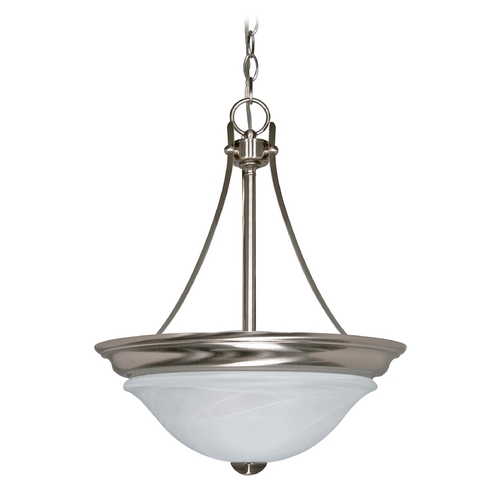 Nuvo Lighting Modern Pendant Light with Alabaster Glass in Brushed Nickel Finish 60/465
