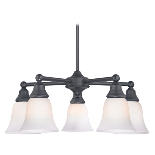 Design Classics Lighting Chandelier with White Glass in Matte Black Finish 597-07 GL9222-WH