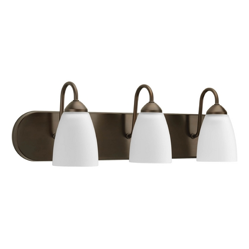 Progress Lighting Progress Bathroom Light with White Glass in Antique Bronze Finish P2708-20