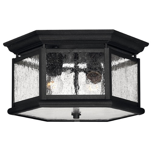 Hinkley Lighting Seeded Glass Close to Ceiling Light Black Hinkley Lighting 1683BK