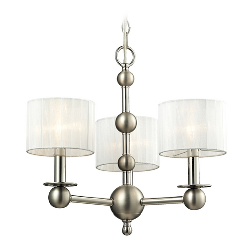 Elk Lighting Mini-Chandelier with White Shades in Polished Nickel Finish 31492/3