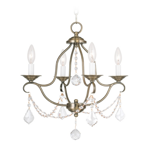 Livex Lighting Livex Lighting Chesterfield Antique Brass Crystal Chandelier 6424-01