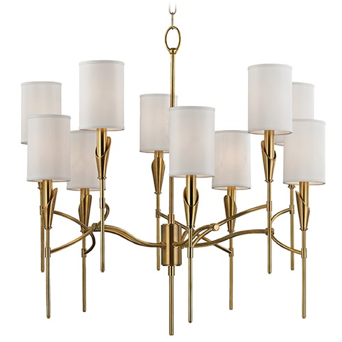 Hudson Valley Lighting Tate 10 Light 2-Tier Chandelier - Aged Brass 1305-AGB