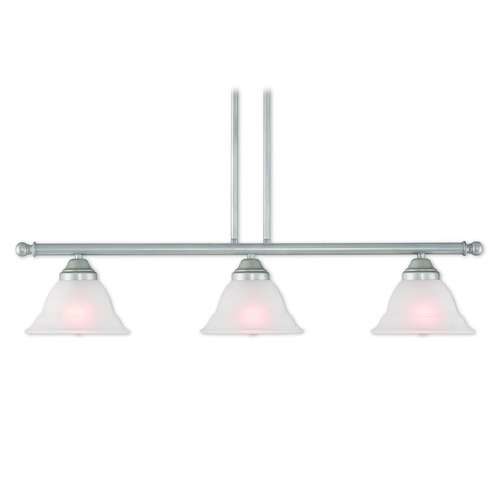 Livex Lighting Livex Lighting Wynnewood Hand Applied Brushed Silver Island Light with Bell Shade 40726-34