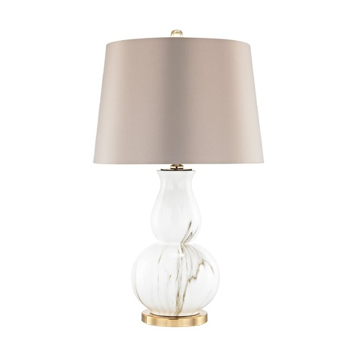 Dimond Lighting Dimond Vicenza Gold and White Faux Marble Table Lamp with Empire Shade D3091