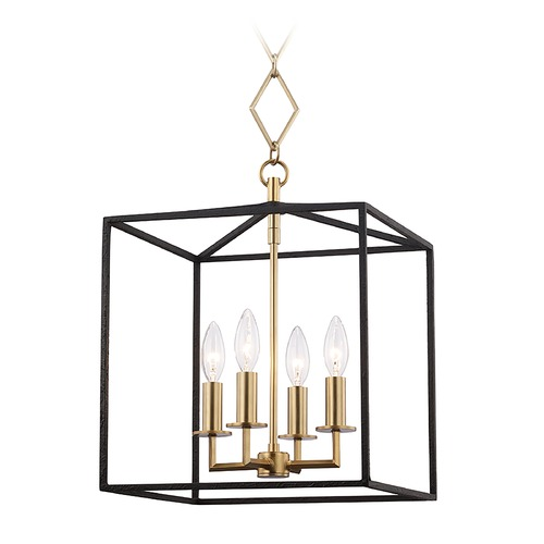 Hudson Valley Lighting Hudson Valley Aged Brass and Black Cage Pendant Light BKO150-AGB/BK