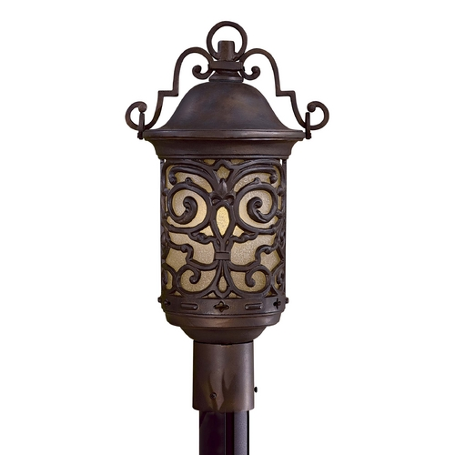Minka Lavery Post Light with Beige / Cream Glass in Chelesa Bronze Finish 9195-189-PL