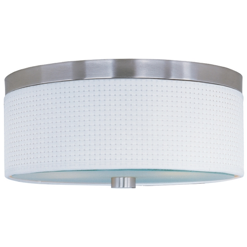 ET2 Lighting Modern Flushmount Light with White Shades in Satin Nickel Finish E95002-100SN