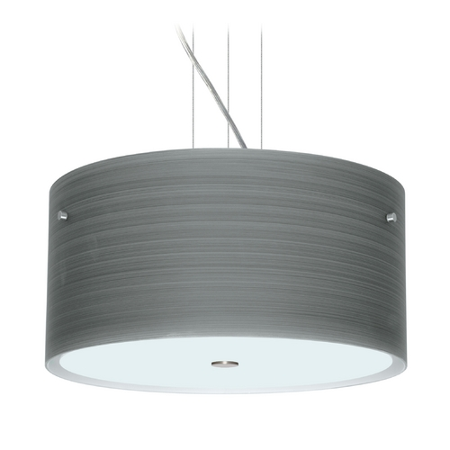 Besa Lighting Modern Pendant Light with Grey Glass in Satin Nickel Finish 1KV-4008TN-SN