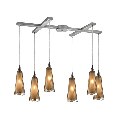 Elk Lighting Modern Multi-Light Pendant Light with Amber Glass and 6-Lights 31148/6