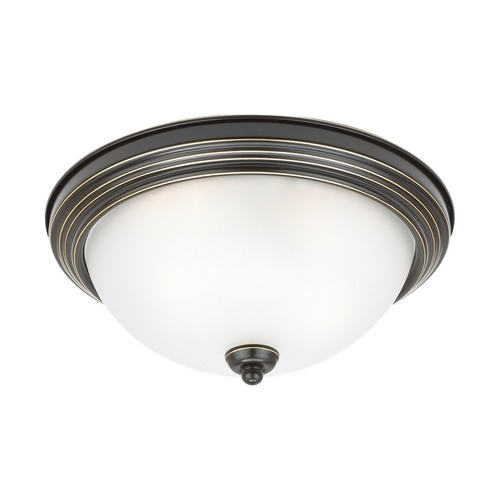 Sea Gull Lighting Flushmount Light with White Glass in Heirloom Bronze Finish 77064-782