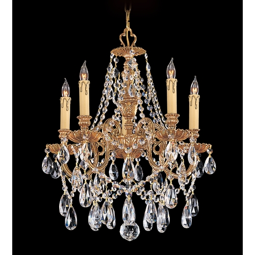 Crystorama Lighting Crystal Mini-Chandelier in Olde Brass Finish 2705-OB-CL-SAQ