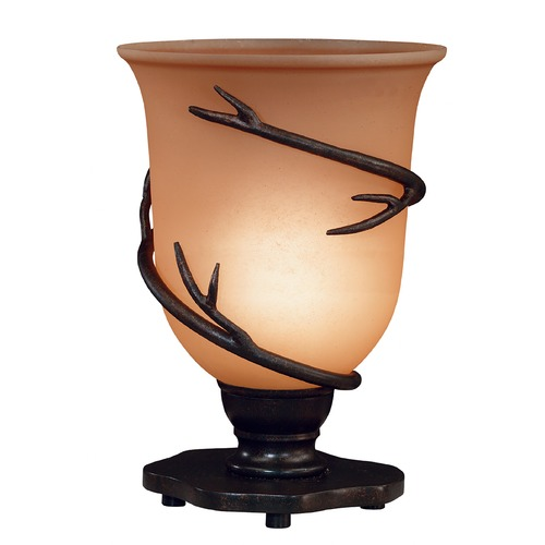 Kenroy Home Lighting Table Top Torchiere Lamp with Amber Glass in Bronze Finish 30913BRZ