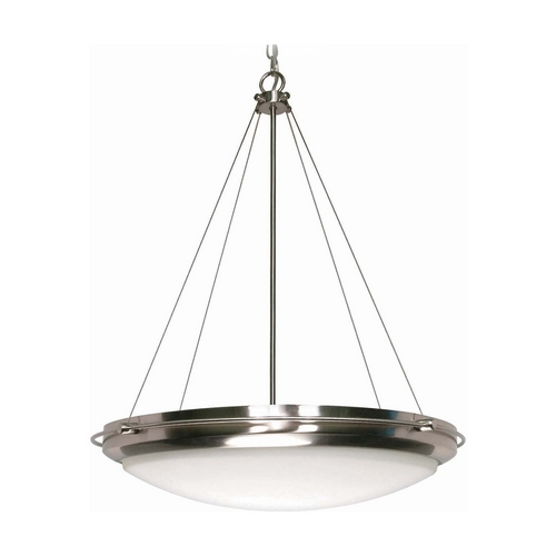 Nuvo Lighting Modern Pendant Light with White Glass in Brushed Nickel Finish 60/493