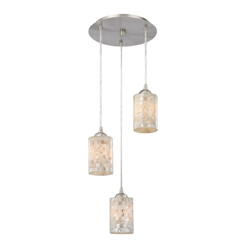 Design Classics Lighting Multi-Light Pendant Light with Mosaic Glass and 3-Lights 583-09 GL1026C