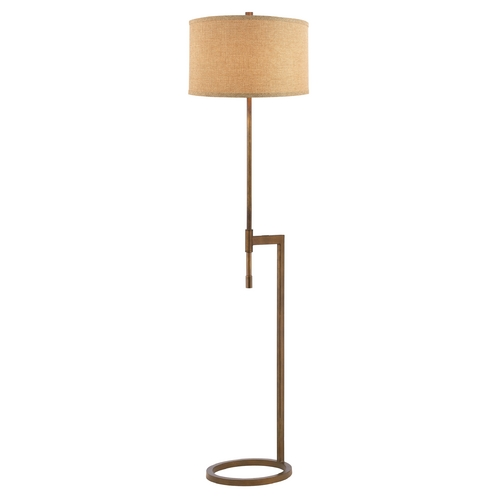 Design Classics Lighting Modern Floor Lamp with Linen Weave Shade in Remington Bronze Finish DCL 6184-604 SH7646