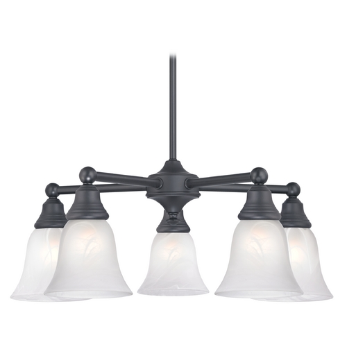 Design Classics Lighting Chandelier with Alabaster Glass in Matte Black Finish 597-07 GL9222-ALB