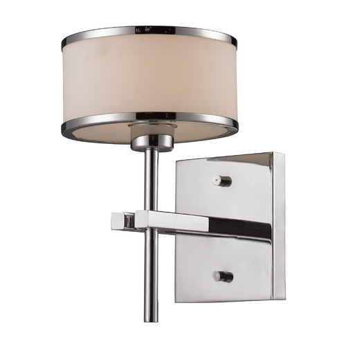 Elk Lighting Modern Sconce Wall Light with White Glass in Polished Chrome Finish 11415/1