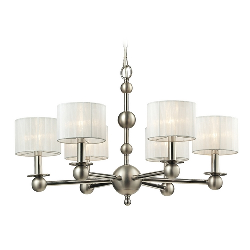 Elk Lighting Chandelier with White Shades in Polished Nickel Finish 31493/6