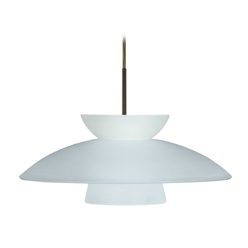 Besa Lighting Besa Lighting Trilo Frosted Glass Bronze LED Pendant Light 1JT-451325-LED-BR