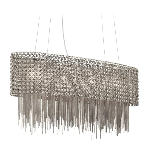 Elan Lighting Elan Lighting Elauna Brushed Nickel Island Light with Drum Shade 83680