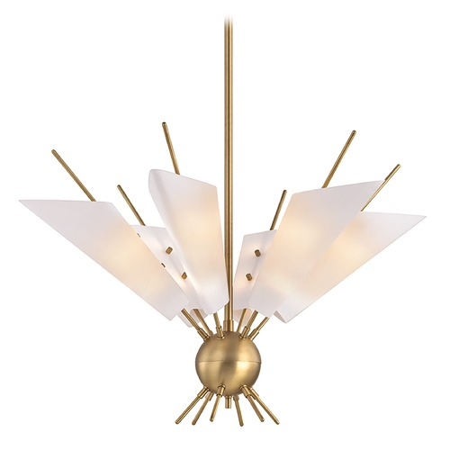 Hudson Valley Lighting Mid-Century Modern Brass LED Chandelier by Hudson Valley 8066-AGB