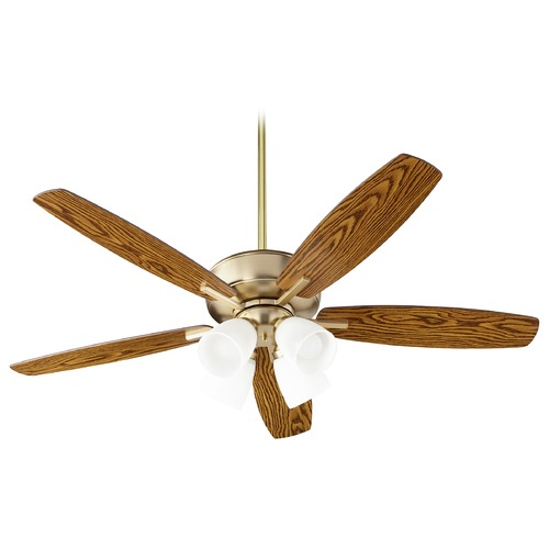 Quorum Lighting Quorum Lighting Breeze Aged Brass LED Ceiling Fan with Light 70525-480