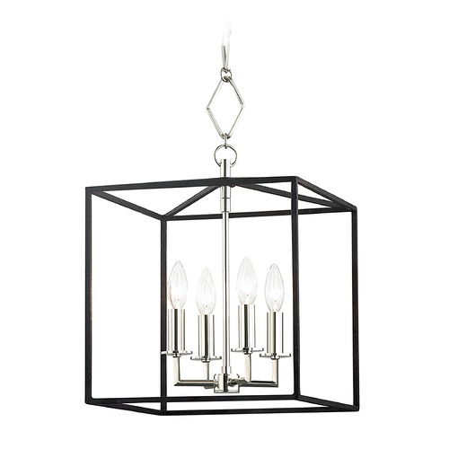 Hudson Valley Lighting Hudson Valley Polished Nickel and Black Cage Pendant Light BKO150-PN/BK