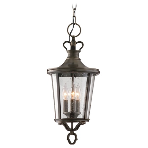 Troy Lighting Outdoor Hanging Light with Clear Glass in English Bronze Finish F1386EB